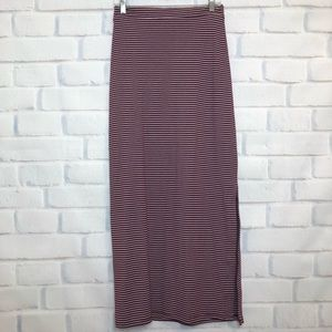 NWOT Skies Are Blue Red Striped Maxi Skirt
